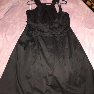 David's Bridal black Y neck short dress